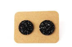 Czarne Kolczyki z Żywicy 12mm - Druza