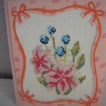 Kartka haftowana - lilie - zbliżenie