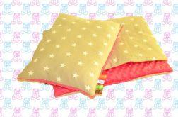 Gruby koc MINKY + poduszka gwiazdki amarant