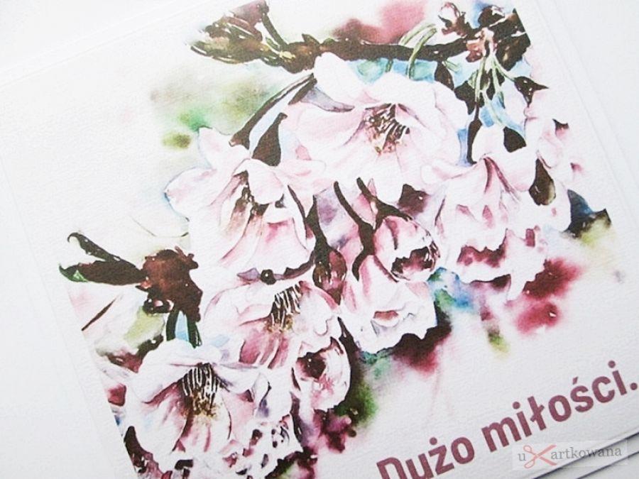 Kartka ŚLUBNA z grafiką - różowe kwiaty - Kartka na ślub z grafiką i życzeniem