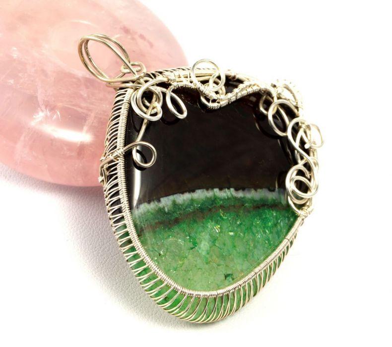 Srebrny wisior z agatem zielono czarnym - agat srebrny wisior