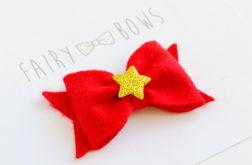 SPINKA do włosów czerwona kokardka śnieżynka