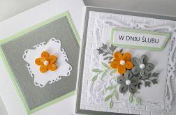 Kartka W DNIU ŚLUBU z quillingowymi kwiatami
