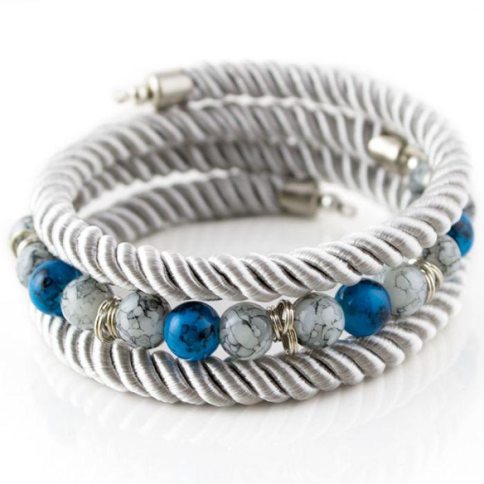 Bransoletka Twist Silver - niebieska