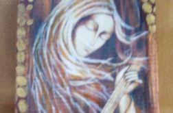Anioł z mandoliną - obraz na desce