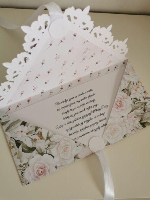 Kartka ślubna kopertowa kopertówka Grace II - życzenia