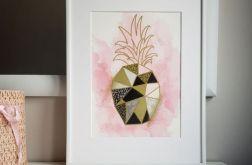 Obrazek/plakat Różowy Ananas + RAMKA