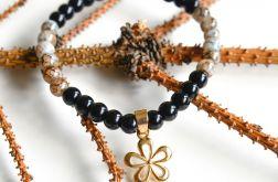 Bransoletka czarno-kamienna z koralików