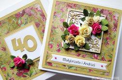 Kartka ROCZNICA ŚLUBU beżowo-różowa