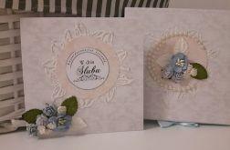 Kartka ślubna wraz z pudełkiem kwiaty