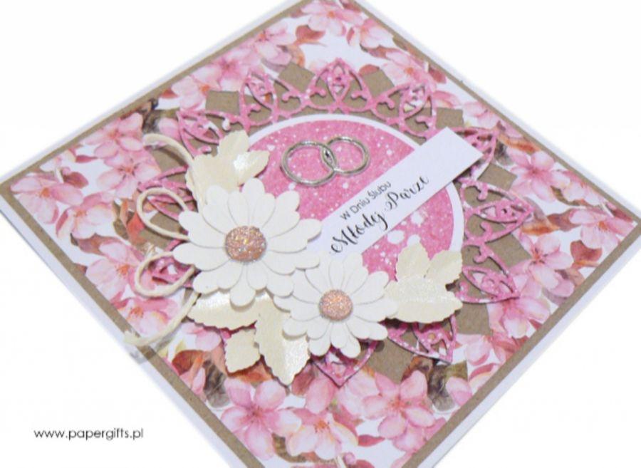 Kartka ślubna białe i różowe kwiaty