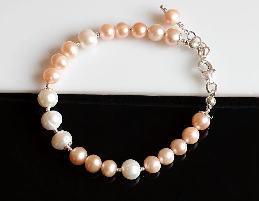 Perły hodowlane - bransoletka - bransoletka z pereł i srebra