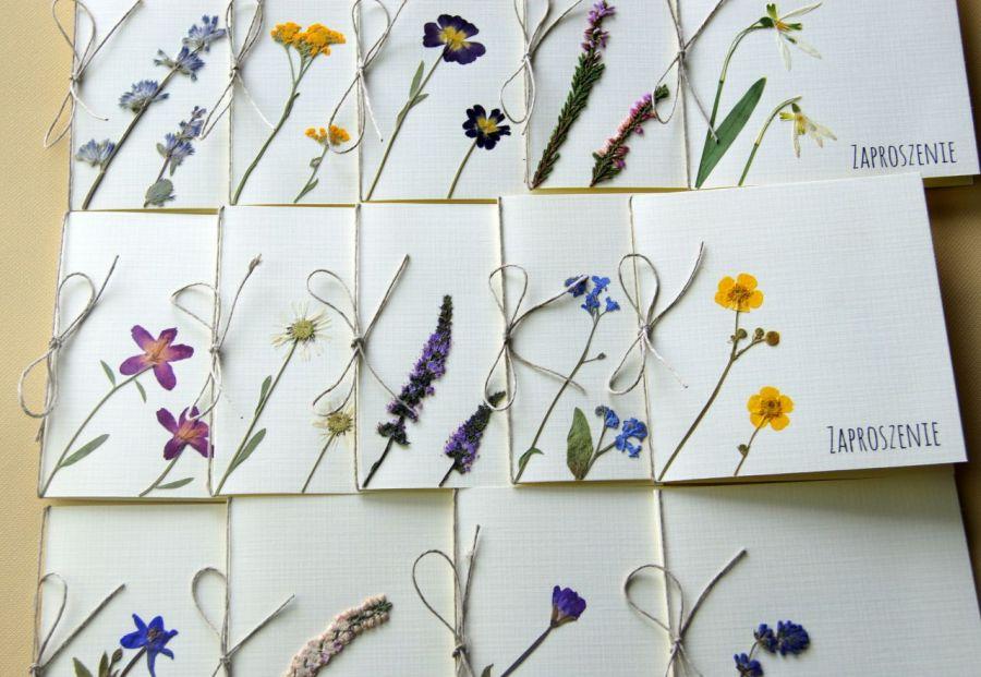 Naturalne kwiaty polne Zaproszenia ślubne