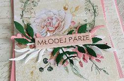 Kartka ślubna do koperty w kolorach różu