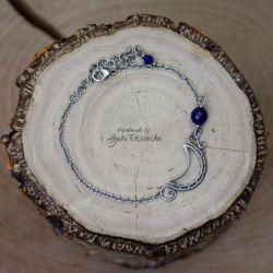 Bransoletka księżyc półksiężyc lapis lazuli