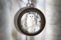Naszyjnik, medalion - Biała sowa - antyczny brąz - zdobiony