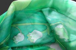 Konwalie, ręcznie malowana chusta jedwabna