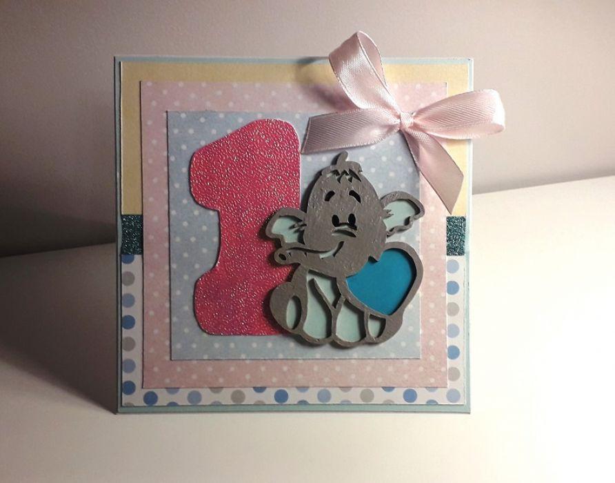 Kartka na Roczek ręcznie robiona różow słonik