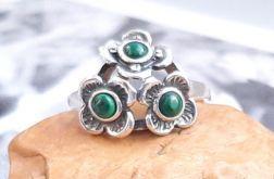 111 pierścionek vintage srebrny niezapominajk