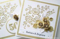 Kartka ROCZNICA ŚLUBU ze złotymi różami