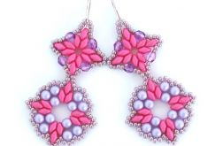 Kolczyki SuperDuo Różowo-Fioletowe