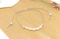 Bransoletka mocy: perły i różowy opal