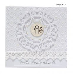 Pamiątka Komunii Świętej biała koronka IHS