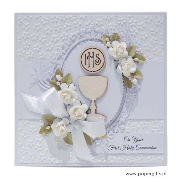 Pamiątka Komunii Św. biała z kielichem i różami -