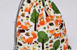 Worek na buty na kapcie do szkoły liski