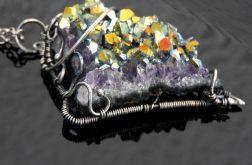 Wisiorek srebrny titanium aura ametyst