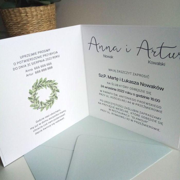 Zaproszenie ślubne z zielonym wiankiem - wianek08