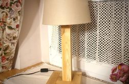 Lampa stołowa drewniana, HAND MADE, abażur