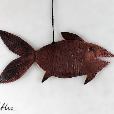 Złota rybka - miedziana ozdoba