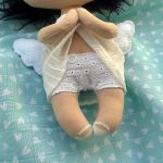 ANIOŁEK lalka - dekoracja tekstylna, OOAK/23 - mam haftowane majteczki