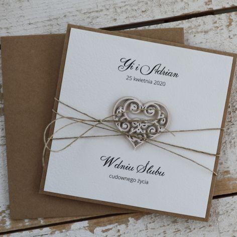Rustykalna kartka ślubna 13da