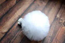 FairyBows * spinka POMPONIK biały