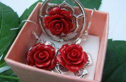 Czerwone róże z korala, zestaw biżuterii