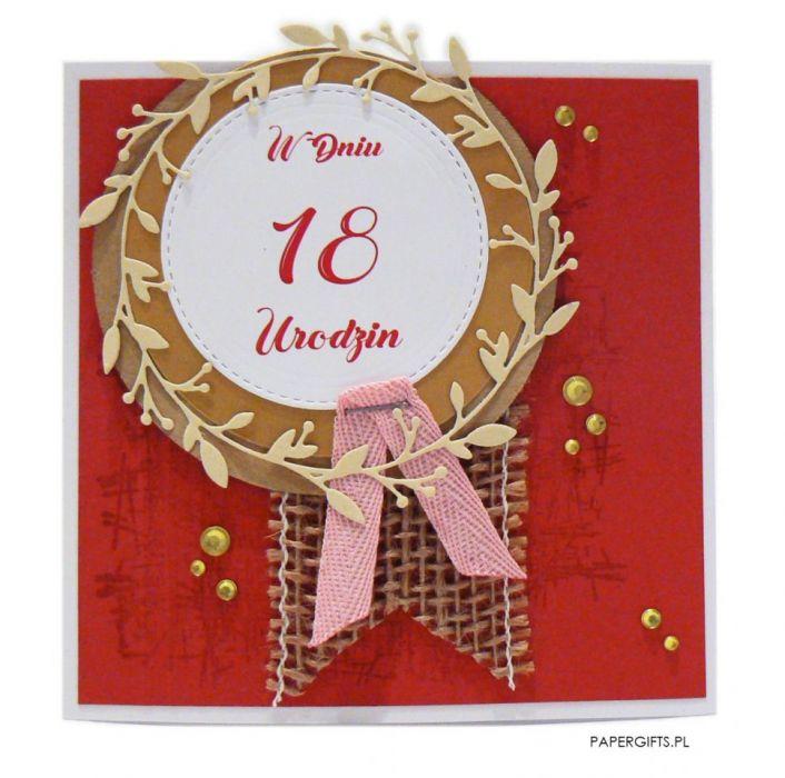 Czerwona kartka 18 urodziny ręcznie robiona
