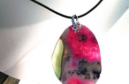 Zielono-różowy agat z kryształem, wisior