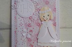 Kartka na Pierwszą Komunię z dziewczynką