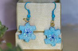 Kolczyki puzzle niebieskie