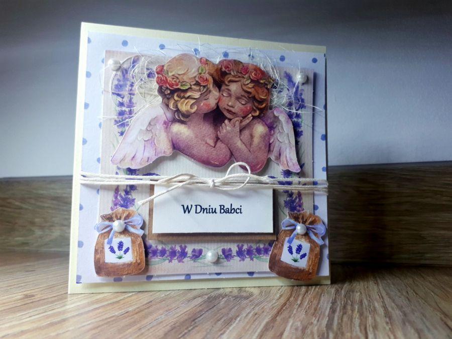 Dzień Babci #5 kartka lawenda aniołki