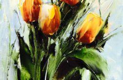 Tulipany , kwiaty obraz olejny 24x30 cm