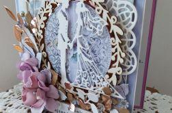Kartka ślubna kwiaty z foamiranu wz 2