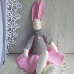 Króliczek Tilda 48cm w sweterku różowy GOTOWY