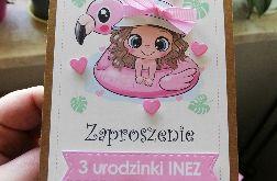 Zaproszenia urodziny dziewczynki eko Flamingi ZUD 003