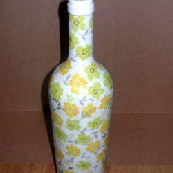 Butelka dekoracyjna decoupage