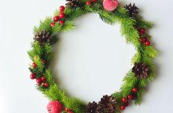 Wianek świąteczny zielono czerwony