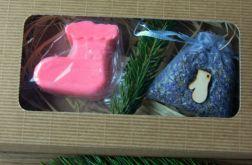 Zestaw Świąteczna skarpeta mydło i woreczek