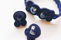 Granatowy komplet sutasz z kryształkami